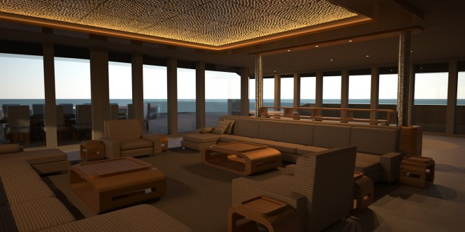 Main Salon on the Eva superyacht