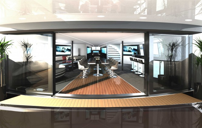 Main Salon on the luxury catamaran yacht Porsche Design