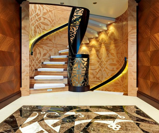 Elegant Main Staircase on the 60m luxury yacht Kaiser