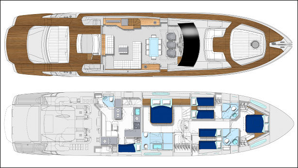 Layout of the new Pershing 82 motor yacht by Perishing Yachts to be launched in 2012