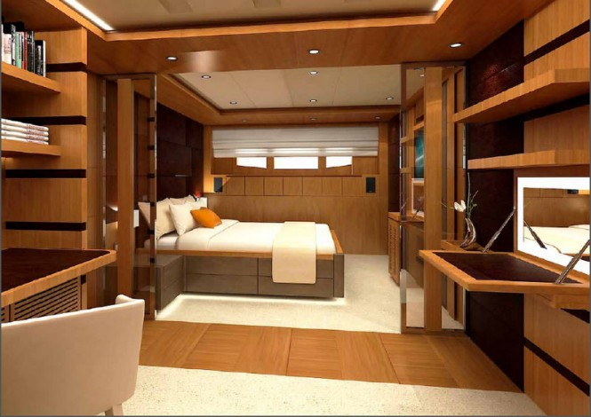 One of the luxurious staterooms offered by Electra Superyacht