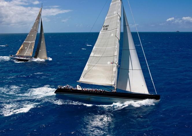 Perini Navi P2 -  Sailing in the Caribbean at a yacht racing regatta