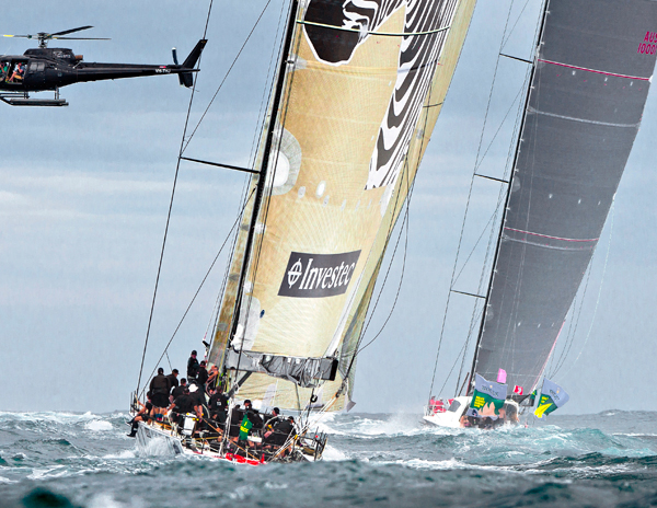 Sailing yacht Investec Loyal chasing after the Wild Oats XI superyacht
