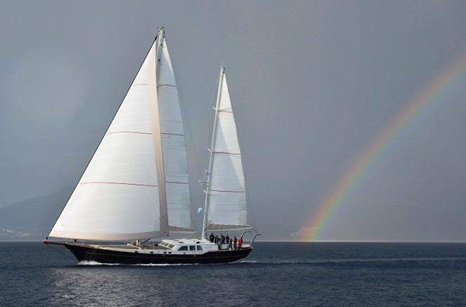 Sailing yacht Kestrel 106 by Ron Holland launched in Turkey undergoing sea trials