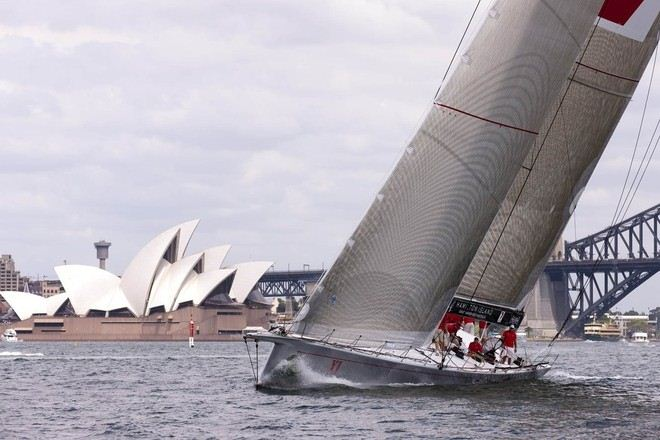 Sailing yacht Wild Oats XI is going for her fifth line honours victory in the SOLAS Big Boat Challenge. Credit Andrea Francolini