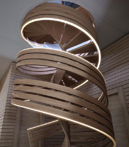 Stairwell going down from the aft terrace of the 99m Fincantieri Xvintage yacht design