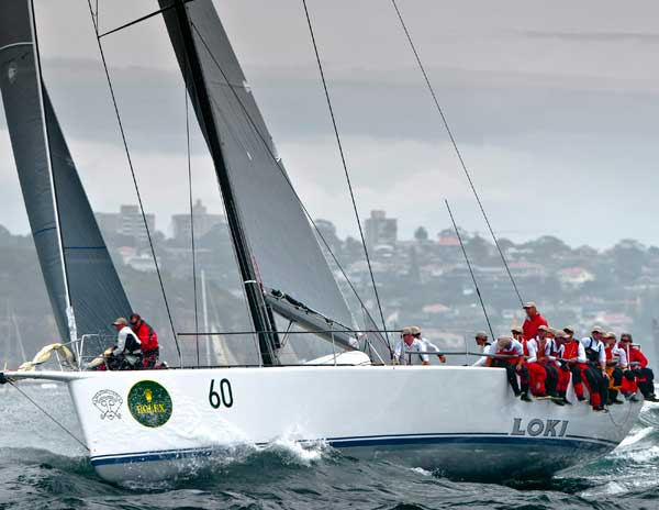 Stephen Ainsworth's Loki exiting Sydney Harbour after the start of the 67th Rolex Sydney Hobart Photo K. Arrigo