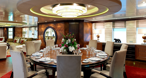 Stunning Dining Room on the luxury yacht Kaiser