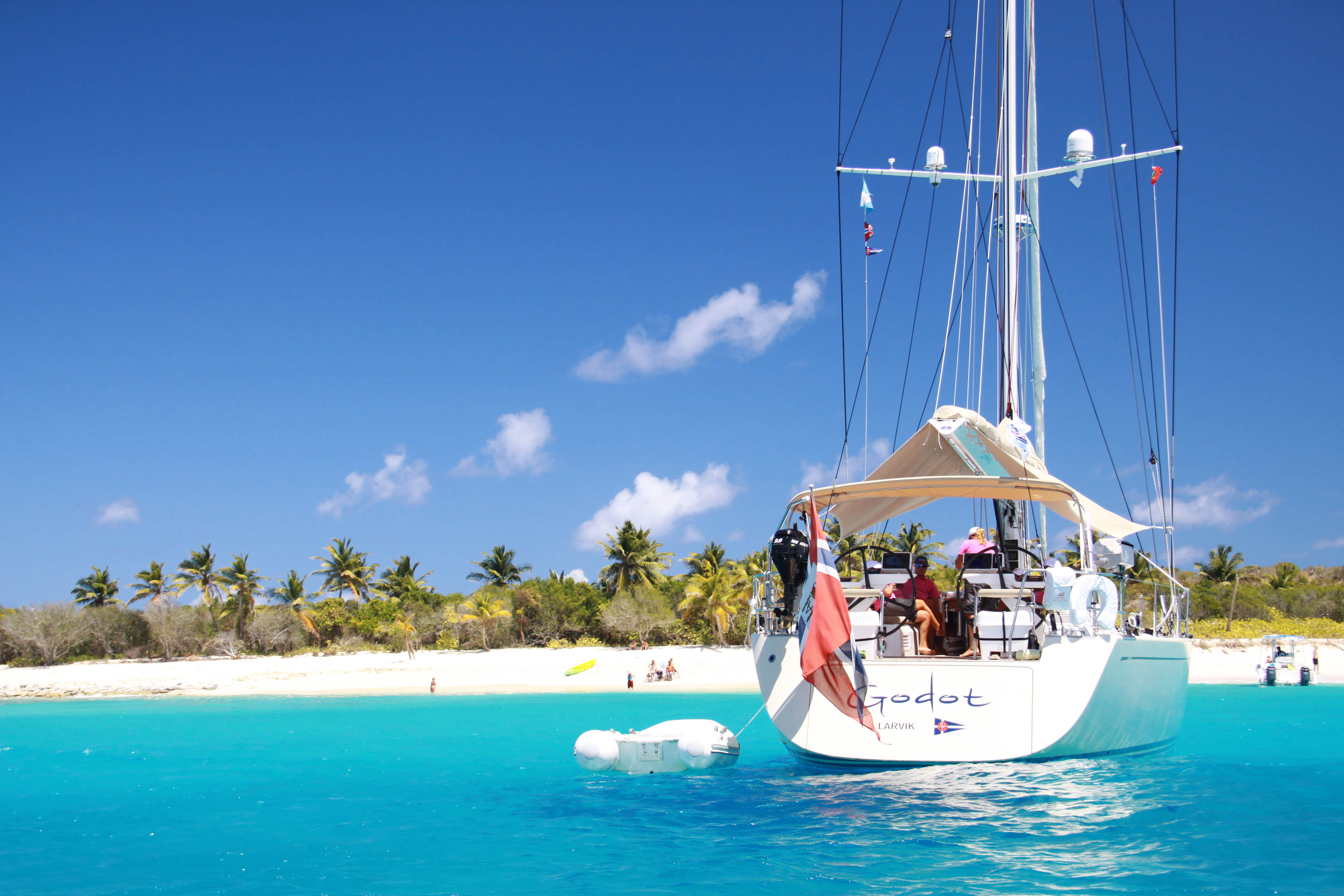 Sailboats In The Caribbean: Stunning Sailing Yacht Swan 66 GODOT Anchored Off Sandy