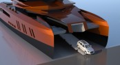 Super yacht Eva with Audi Q7 driven off via the bow ramp