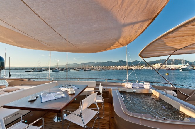 Superyacht Blue Force One - Sundeck table - Credit to AB Yachts