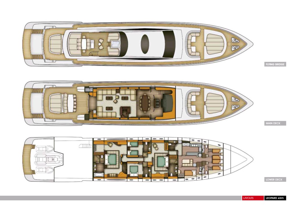 The Leopard 43m Yacht Interior Layout on Mega Luxury Yachts Floor Plans