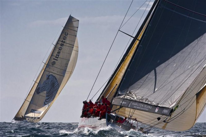 The Maxis INVESTEC LOYAL and WILD OATS XI on the Derwent River Photo K. Arrigo