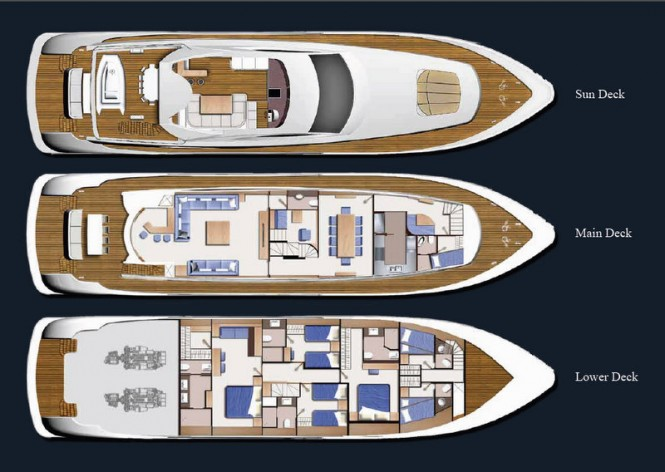 Three-deck luxury motor yacht Electra by IAG Yachts