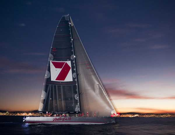 Sailing yacht Wild Oats XI approaching the finish line at the Audi Sydney Gold Coast Yacht Race Photo Credit Andrea Francolini