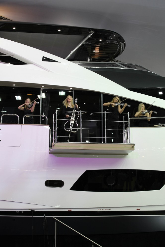 Asteria string quartet at the World debut of the New Sunseeker 28m Motor Yacht at 2012 Tullett Prebon London Boat Show – Photo Credit Sunseeker International.