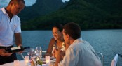 Dining on board of Miss Kulani charter yacht - Photo by Tim McKenna Photography©