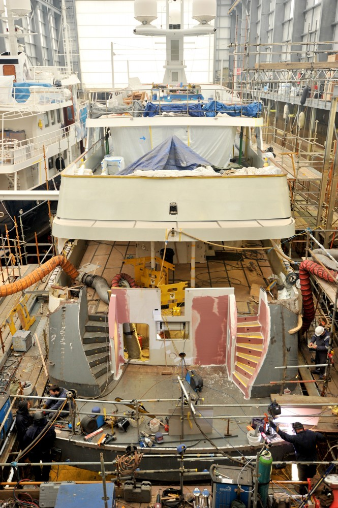Feadship superyacht Audacia during her refit