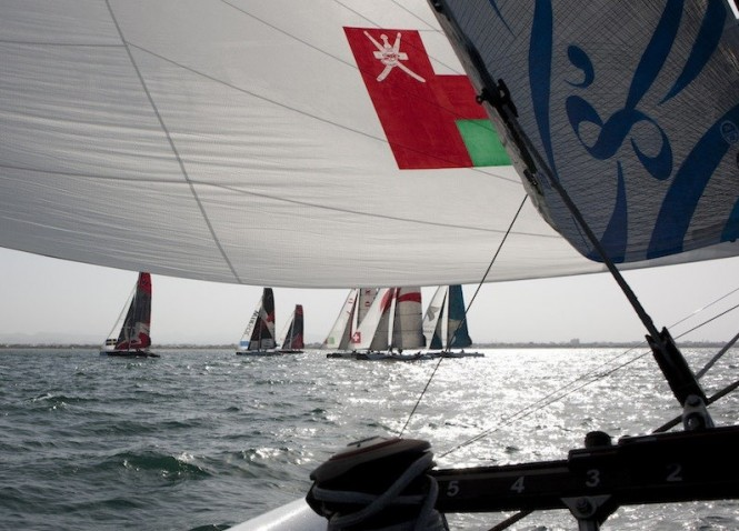 Fleet racing from onboard The Wave yacht, Act 1, Muscat, 2011