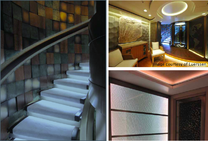 Interior lighting designed by I3D for super yacht PACIFIC - Image courtesy of I3D