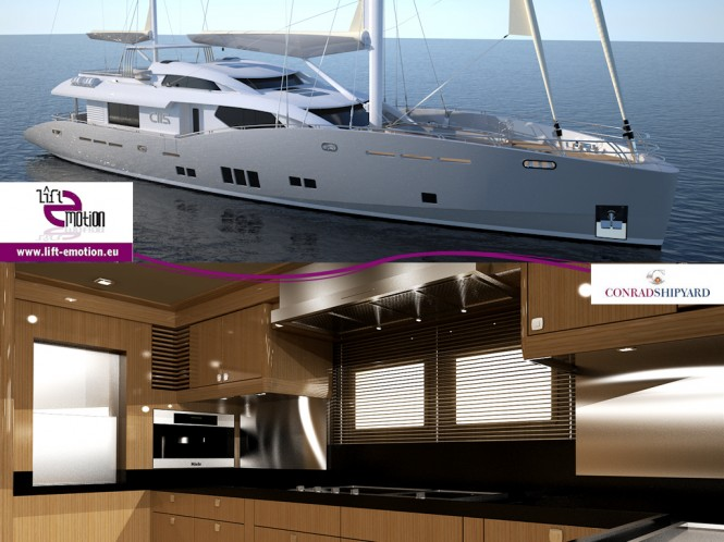 Lift Emotion BV delivered a special dumbwaiter for the 35.30m sailing yacht Conrad 115