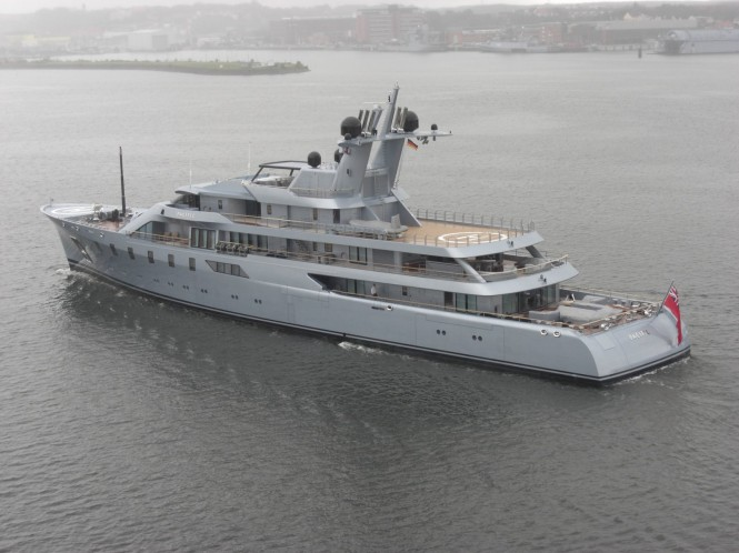 Lurssen mega yacht Pacific in the harbour of Kiel - Photo courtesy of Ferdinand Rogge