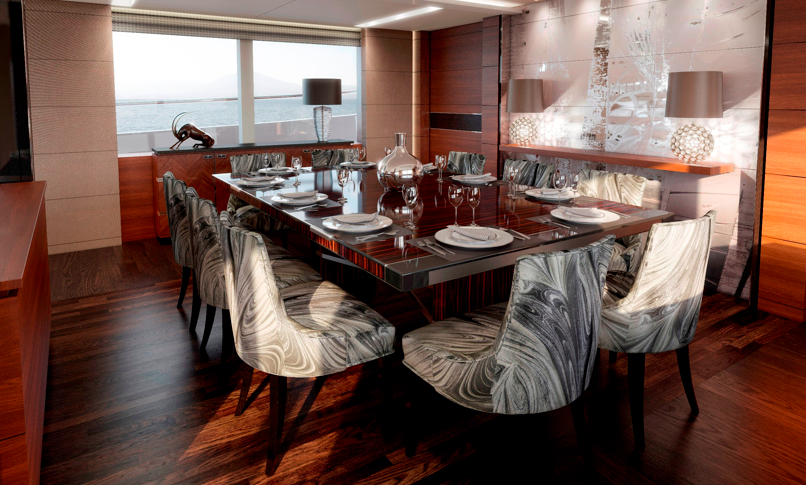 Super yacht Princess 40m - Dining area - Photo courtesy of Princess Yachts