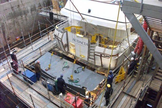 Superyacht Audacia swim platform being lowered - Image courtesy of Pendennis Shipyard UK