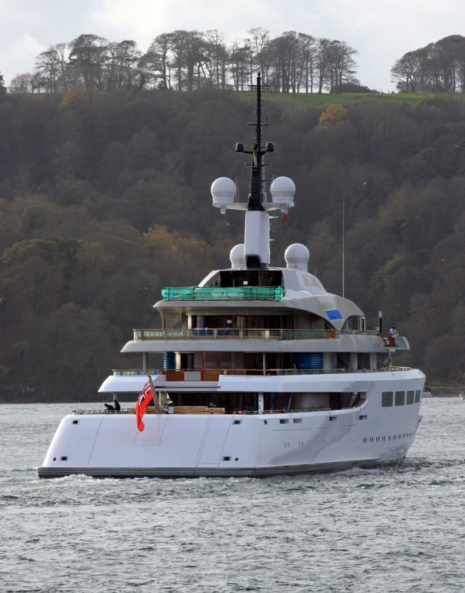 Superyacht VAVA II stern - off Plymouth UK