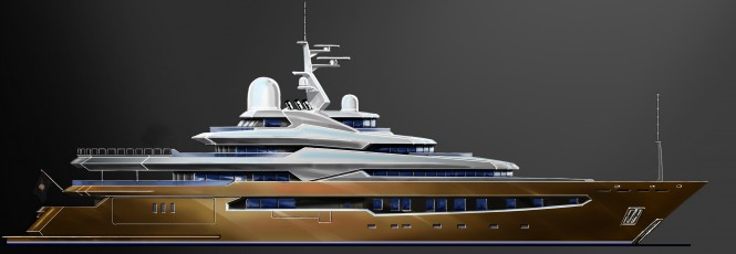 Triangular faceted form giving the yacht a muscular masculine feel