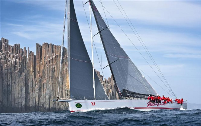 Super Yacht WILD OATS XI passing Tasman Island Photo: ROLEX/K. Arrigo