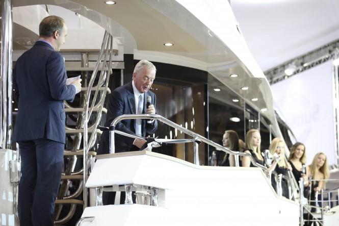 World debut of the New Sunseeker 28m Motor Yacht at 2012 Tullett Prebon London Boat Show – Photo Credit Sunseeker International.