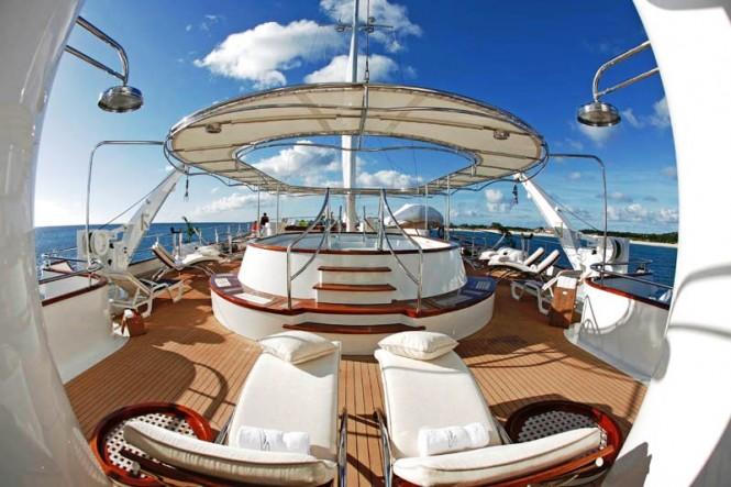 Yacht SHERAKHAN's inviting sun deck