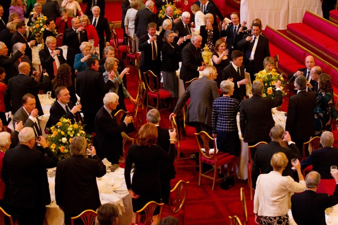 150 members of the Royal Southern Yacht Club toast its Patron H.R.H. Prince Philip Duke of Edinburgh at yesterday's Patron's Lunch held at Buckingham Palace. Credit M. Austen
