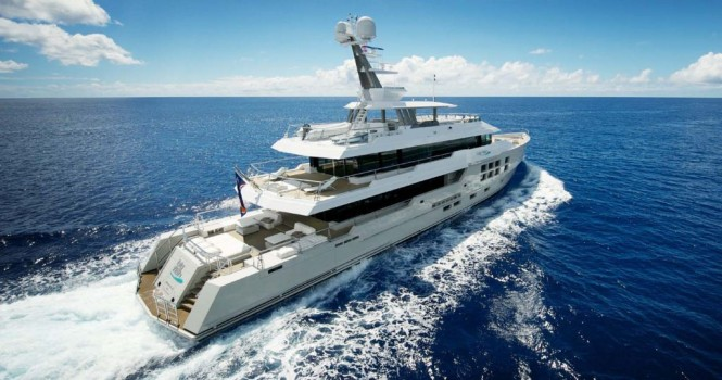45m Expedition Charter Yacht BIG FISH enroute to the South pacific and available for charter in Tahiti.