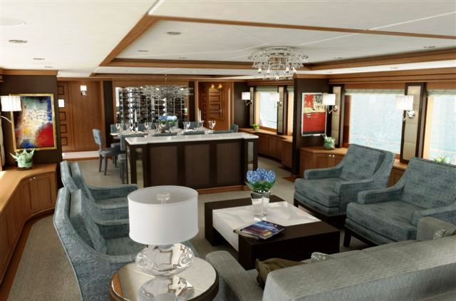 49m Trinity charter yacht BLIND DATE - main saloon