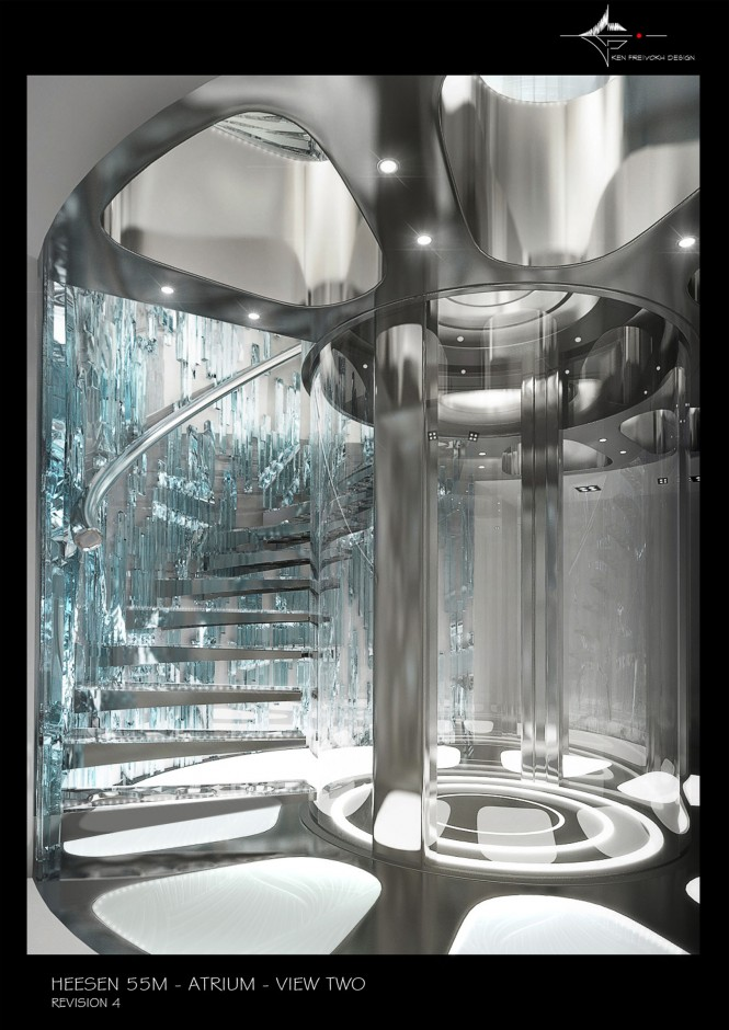 55m Heesen Quinta Essentia Yacht - Atrium - Initial concept for the project by Ken Freivokh