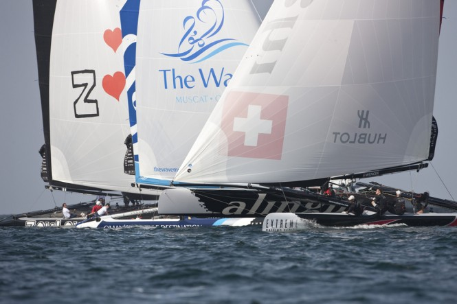 Alinghi on day 1 at Muscat Credit: Lloyd Images