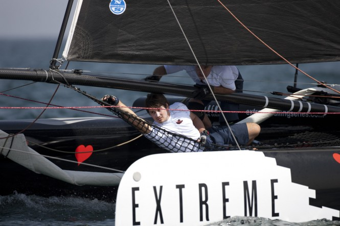 Antoine Joubert on board the sailing yacht ZouLou on day 1 at Muscat Credit: Lloyd Images