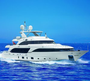 Benetti 36.90m Classic 121 Custom Luxury Yacht DOMANI on display at Miami Boat Show