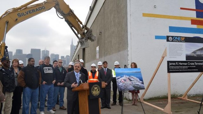 Breaking ground on the Port of San Francisco's James R. Herman Cruise Terminal at Pier 27