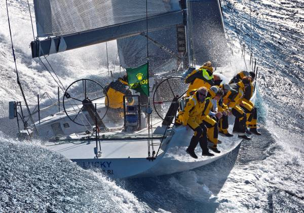 Bryon Ehrhart's TP52 yacht Lucky in the 2010 Rolex Middle Sea Race. Photo: Rolex/Kurt Arrigo