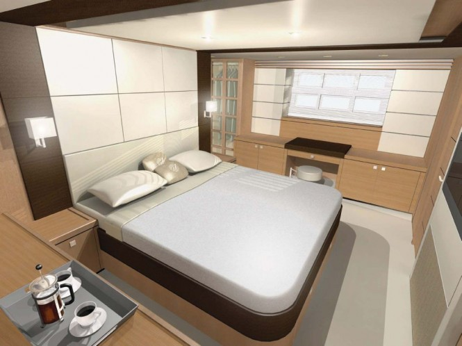 Cabin on the Johnson 65 motor yacht from Dixon Yacht Design