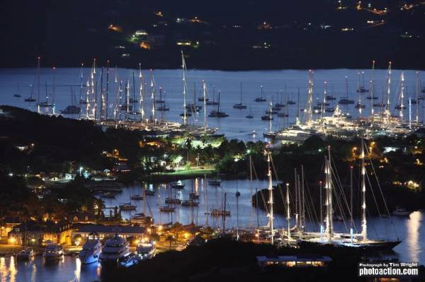 Falmouth Harbour at night. Photo Credit Tim Wright photoaction