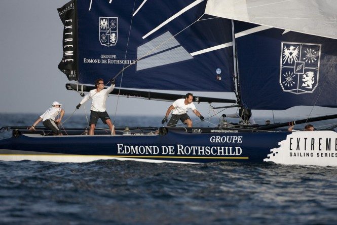 Groupe Edmond de Rothschild take victory on the first day of racing in Muscat Credit: Lloyd Images