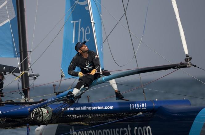Hashim Al Rashidi on the bow of The Wave, Muscat Credit: Lloyd Images