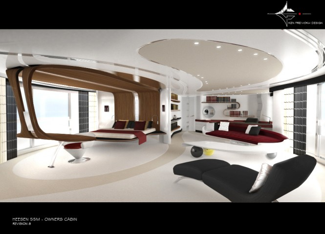 Initial concept for the Owner's cabin by Ken Freivokh - Heesen Motor Yacht Quinta Essentia
