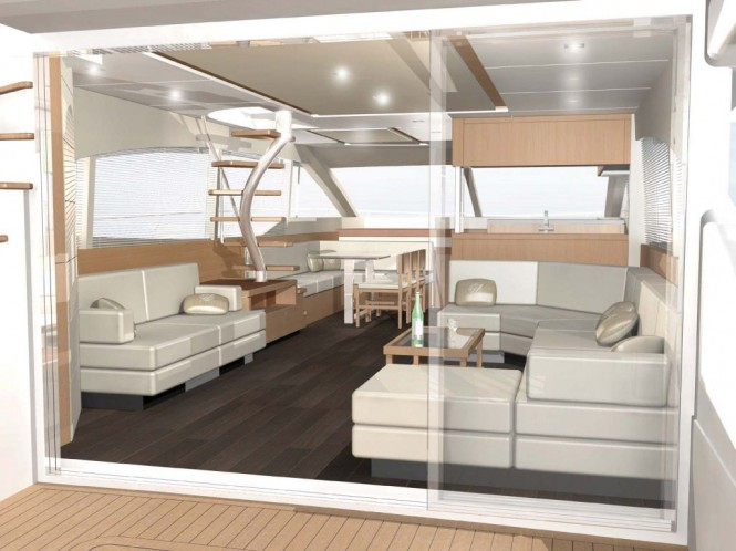 Interior of the new Johnson 65 motor yacht from Dixon Yacht Design