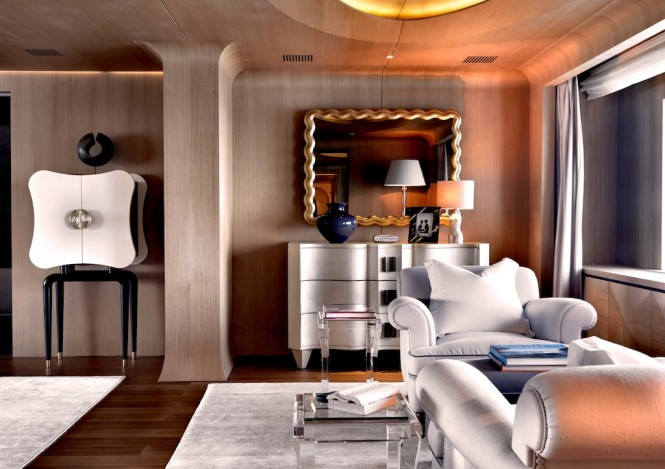 Interior of the stunning and elegant motor yacht Numptia by  Salvagni Architetti
