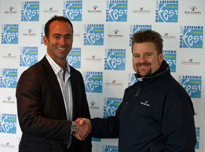 James BrookeFestival Director, seals the Cowes Fest deal with Cowes Yacht Haven's Managing Director, Jon Pridham Photo by H. Thornycroft